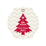 Etiqueta de la Navidad y del Año Nuevo 2015 con el árbol rojo Foto de archivo libre de regalías