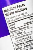 Etiqueta de la nutrición Foto de archivo libre de regalías