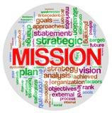 Etiqueta de la palabra de la misión Foto de archivo libre de regalías