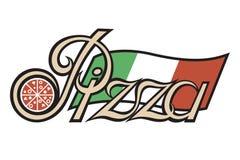 Etiqueta de la pizza Foto de archivo libre de regalías