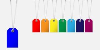 Etiqueta de la etiqueta de precio en diversos colores con la ejecución del cort del top Foto de archivo