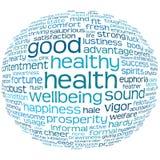 Etiqueta de la salud y del bienestar o nube de la palabra Imagenes de archivo