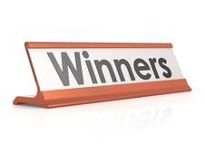Etiqueta de la tabla de los ganadores Foto de archivo libre de regalías