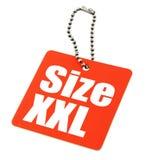 Etiqueta de la talla de XXL Fotografía de archivo