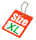Etiqueta de la talla del XL Imagen de archivo