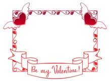 Etiqueta de la tarjeta del día de San Valentín con las rosas y los corazones Imagenes de archivo