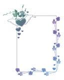 Etiqueta de la tarjeta del día de San Valentín con las rosas y los corazones Imagen de archivo libre de regalías