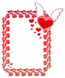 Etiqueta de la tarjeta del día de San Valentín con las rosas y los corazones Fotos de archivo