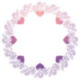 Etiqueta de la tarjeta del día de San Valentín con las rosas y los corazones Foto de archivo libre de regalías