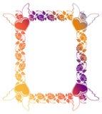 Etiqueta de la tarjeta del día de San Valentín con las rosas y los corazones Fotografía de archivo libre de regalías