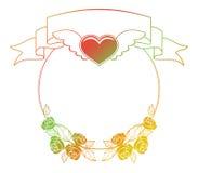 Etiqueta de la tarjeta del día de San Valentín con las rosas y los corazones Fotografía de archivo