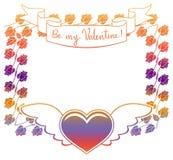 Etiqueta de la tarjeta del día de San Valentín con las rosas y los corazones Imagen de archivo