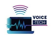 Etiqueta de la tecnología de la voz con el ordenador portátil y el ayudante de la voz ilustración del vector