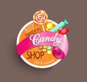 Etiqueta de la tienda del caramelo ilustración del vector