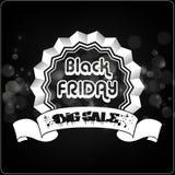 Etiqueta de la tipografía de Black Friday con las cintas Imagen de archivo