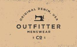 Etiqueta de la tipografía para la compañía de la ropa, logotipo en estilo del vintage stock de ilustración