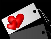 Etiqueta de la venta blanca con los corazones Fotografía de archivo
