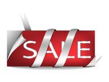 Etiqueta de la venta con la cinta de plata Fotos de archivo