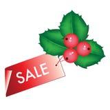 Etiqueta de la venta de la Navidad con el muérdago Imagenes de archivo