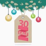 etiqueta de la venta de la Navidad de la reducción del 30 por ciento Imagenes de archivo