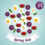 Etiqueta de la venta de la primavera con las flores libre illustration