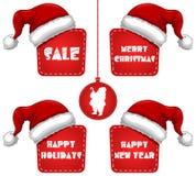 Etiqueta de la venta del Año Nuevo de la Navidad del rectángulo con el casquillo Imágenes de archivo libres de regalías