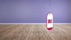 Etiqueta de la venta en una secuencia
