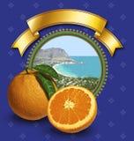 Etiqueta de las naranjas Fotos de archivo libres de regalías