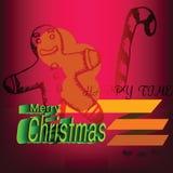 Etiqueta de los garabatos de las galletas del pan de jengibre de la Feliz Navidad Fotos de archivo libres de regalías