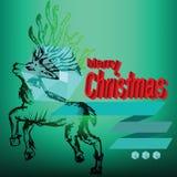 Etiqueta de los garabatos del reno de la Feliz Navidad Imagenes de archivo