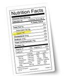 Etiqueta de los hechos de la nutrición. Grasa destacada. Fotos de archivo
