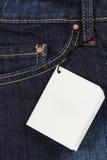 Etiqueta de los pantalones vaqueros Fotografía de archivo