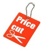 Etiqueta de los recortes de precios Foto de archivo libre de regalías