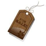 Etiqueta de madera de las ventas Imagen de archivo libre de regalías