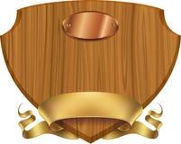 Etiqueta de madera del escudo Imagenes de archivo