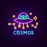 Etiqueta de néon do cosmos ilustração stock