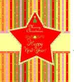 Etiqueta de Navidad con la estrella Foto de archivo