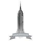 Etiqueta de New York City. Paisaje de los E.E.U.U. del vector. Ejemplo dibujado mano del bosquejo Fotos de archivo