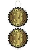Etiqueta de oro de lujo única del bestseller mundial y  Fotografía de archivo libre de regalías