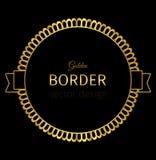 Etiqueta de oro del círculo con la frontera de encaje Fotos de archivo libres de regalías