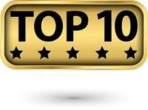 Etiqueta de oro del top 10, vector stock de ilustración