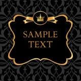 Etiqueta de oro en fondo del negro del damasco ilustración del vector
