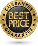 Etiqueta de oro de la mejor garantía del precio, ejemplo del vector Imágenes de archivo libres de regalías