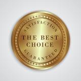 Etiqueta de oro redonda de la insignia del vector con la satisfacción Fotografía de archivo