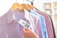 Etiqueta de pano com código de QR Imagens de Stock Royalty Free