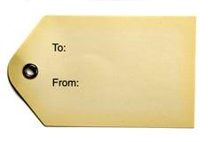 Etiqueta de papel amarillenta del regalo Fotos de archivo