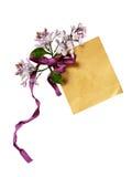 Etiqueta de papel com as flores da curva e do lilás Imagem de Stock