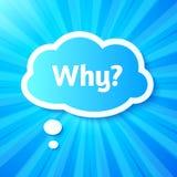 Etiqueta de papel da nuvem com sinal porque? Fotos de Stock Royalty Free