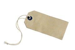 Etiqueta de papel velha com a corda, isolada no fundo branco. fotos de stock royalty free
