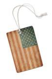 Etiqueta de papel velha de pano com a bandeira dos EUA isolada imagem de stock royalty free